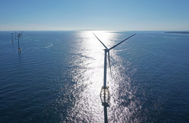 Off Block Island, the five turbines of the nation's first offshore wind farm.