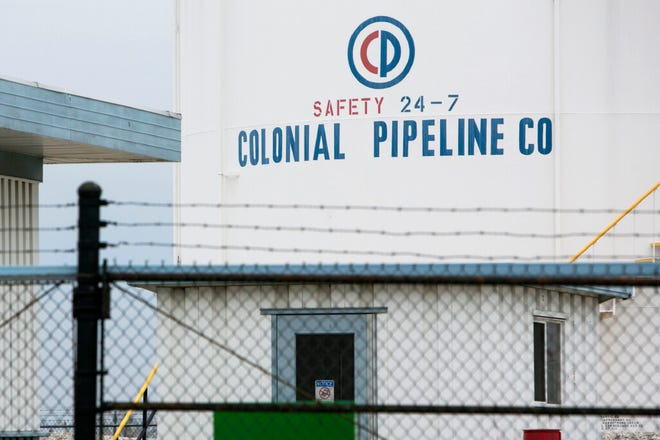 A logo sign outside of a Colonial Pipeline Company facility in Baltimore, Maryland, in 2016.