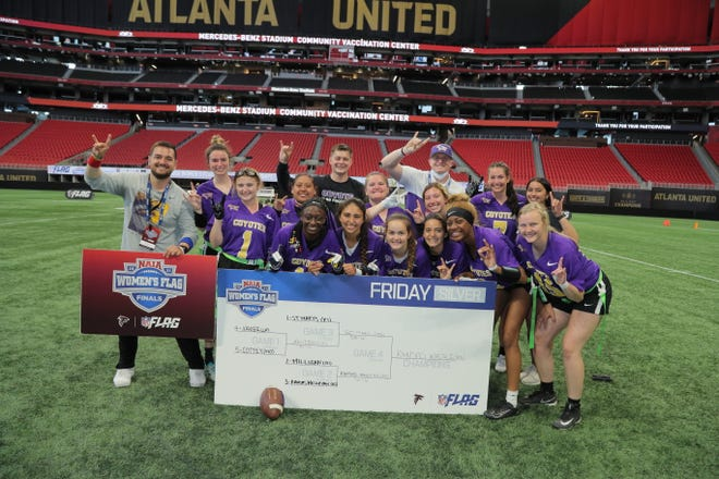 The Kansas Wesleyan women's flag football team won the Silver Bracket at the NAIA Flag Invitational held at Merecdes-Benz Stadium in Atlanta, Ga.