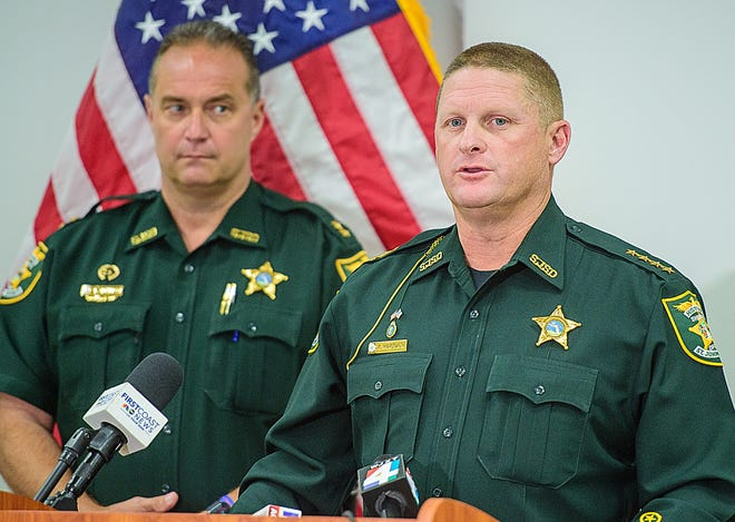 St. Johns County Sheriff Rob Hardwick announces at a press conference held at his office in St. Augustine on Monday, May 10, 2021 the arrest of a 14-year-old for the murder of 13-year-old Tristyn Bailey.