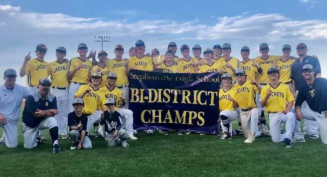 The Stephenville High School Jackets baseball team clinched the bi-district title on Friday by defeating Vernon, 12-2, in Game 2 of their playoff series. The Jackets won game 1 on Thursday night, 8-2. Next up, the Jackets will face Decatur at 7 p.m. Thursday at Weatherford High School for Game 1. Game 2 is scheduled for 7 p.m. Friday with Game 3 (if necessary) at noon on Saturday.