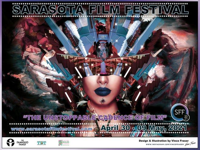The poster for the 2021 Sarasota Film Festival designed by Vince Fraser.
