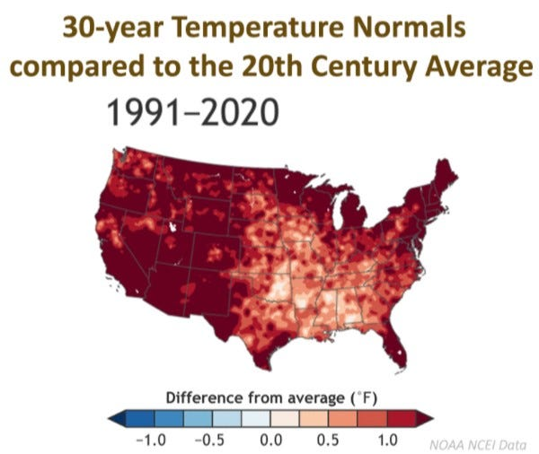 The National Oceanic and Atmospheric Administration last week put this graphic on its website illustrating how the 30-year temperature averages for the period from 1991 to 2020 compare to the averages for the years 1901 to 2000 throughout the continental United States.