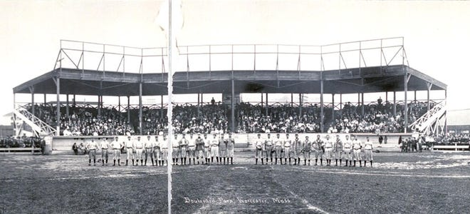Teams from Worcester and Haverhill line up before a game around 1910 at Boulevard Park in Worcester.