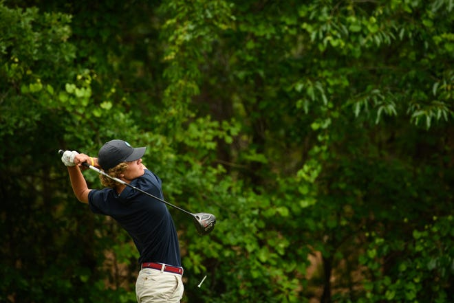 Terry Sanford's Ethan Paschal tees off on the second hole during the 3-A state golf championship at Longleaf Golf & Family Club on Monday, May 10, 2021, in Southern Pines.