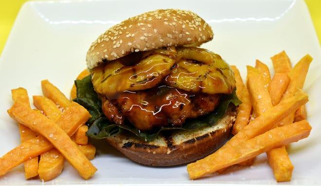 Teriyaki Glazed Pork Burgers with Grilled Pineapple