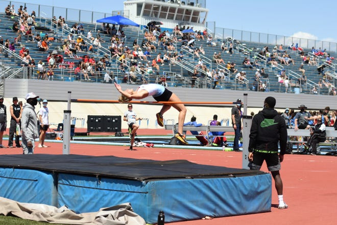 Pueblo West senior, Shayla Padilla, high jumps at the Early Bird Invitational that Pueblo West hosted Saturday.