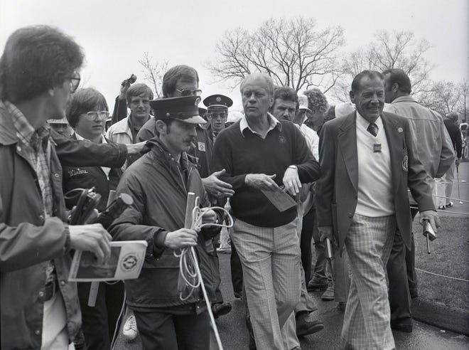 Former President Gerald R. Ford was scheduled to play in a pro-am May 16, 1978, during the Memorial Tournament at Muirfield Village Golf Club, but the event was rained out. Instead, and to entertain the few hundred who showed up despite the weather, Ford held a brief news conference after hitting a couple putts as Jack Nicklaus analyzed his skills.