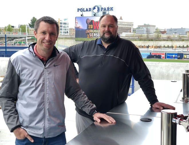 Rob Crain, left, a senior vice president for sales and marketing at the Worcester Red Sox, and Cody Malone, Polar Park's vice president of hospitality, painstakingly set up every tap and cooler inside Polar Park, making sure to include as much craft beer as possible.
