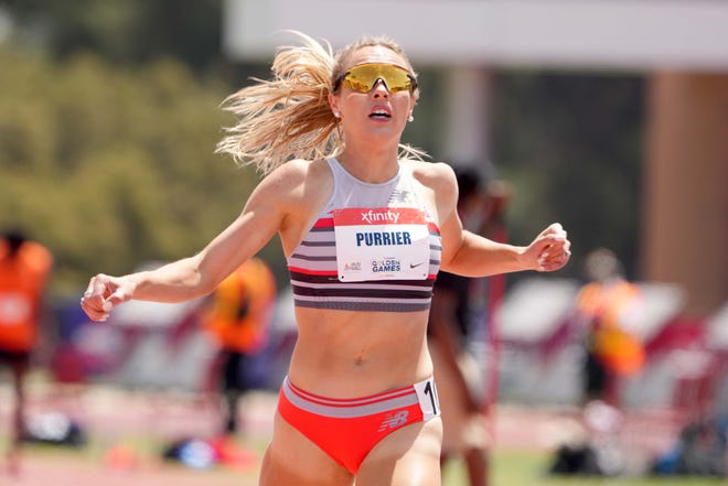 Elle Purrier celebrates after winning the women's 1,500m in 3:58.36 during the USATF Golden Games at Hilmer Lodge Stadium on May 9, 2021.