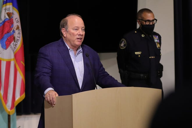 Mayor Mike Duggan was on hand to thank Police Chief James Craig who announced he will be retiring Monday, May 10, 2021 at DPD HQ. in Detroit, MI.