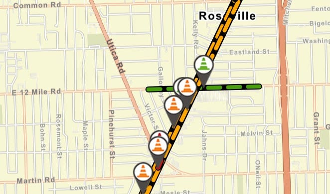12 Mile Road at Gratiot in Roseville will close for 3 days to replace traffic lights