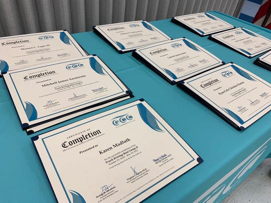 These certificates, shown before a completion ceremony May 10 at Guam Community College, were awarded to 11 students who completed the second Truck Driving Boot Camp.