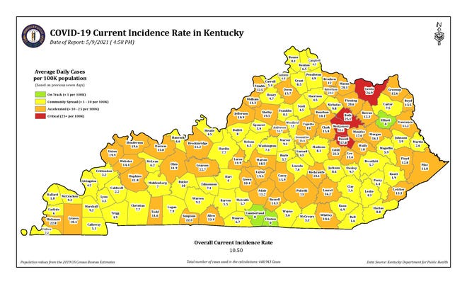 This color-coded map from the Kentucky Department for Public Health shows the incidence rate of COVID-19 cases in each county in the state.