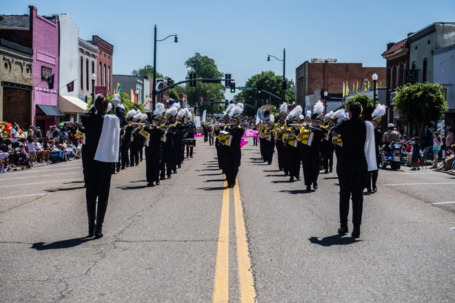 Peabody High School marching band during the West Tennessee Strawberry Festival Grand Floats Parade on Friday, May 7, 2021 in Humboldt, Tenn.