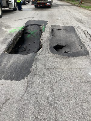 East Liberty Street was closed between Campbell and Wenzel streets due to pavement cave-ins.