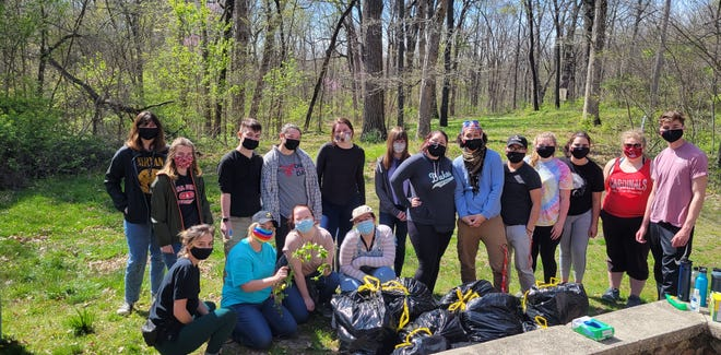 Ball State University students helped cleared 11 bags' worth of garlic mustard, an invasive plant, at  Munsee Woods, a Red-tail Land Conservancy nature preserves near Selma.