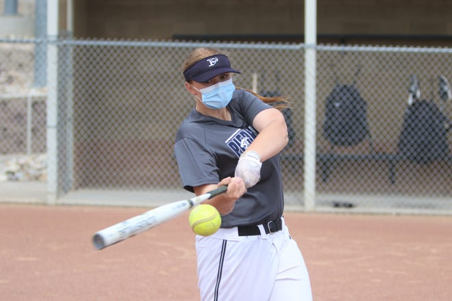 Piedra Vista's Madi Van Riper, seen here during practice on Monday, May 10, 2021, at Farmington Sports Complex, is off a strong start on the hitting end this season.