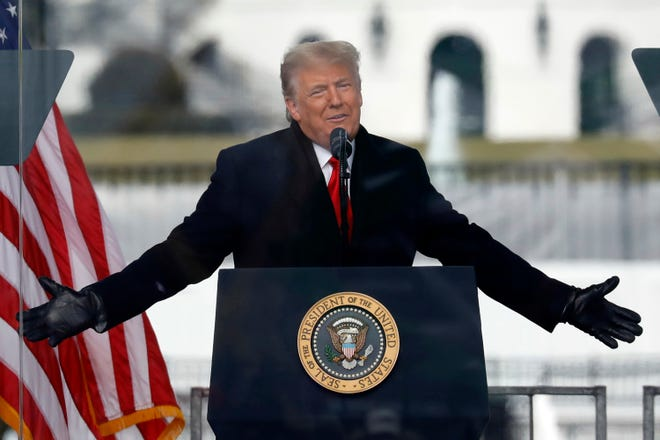Donald Trump speaks to his supporters at the Save America Rally on the Ellipse on Wednesday, Jan. 6, 2021, near the White House in Washington, D.C. His supporters laid seige to the U.S. Capitol a short time later. (Yuri Gripas/Abaca Press/TNS)