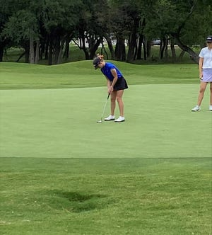 San Angelo Central High School junior Ryann Honea gets ready to putt during Day 1 of the UIL Class 1A girls golf tournament in Georgetown on Monday, May 10, 2021. Honea opened with a 3-under par 69 and is tied for the lead heading into Tuesday's final round.