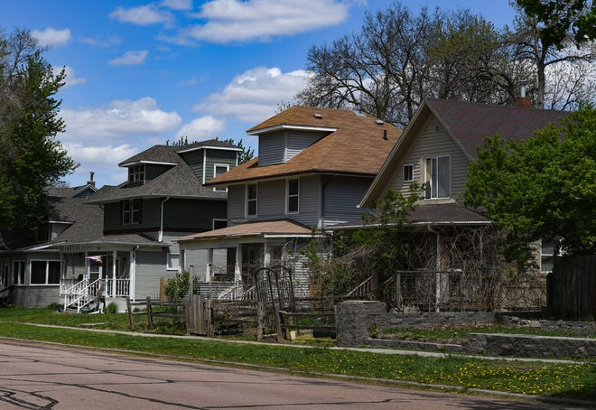 Sun shines on houses near Heritage Park on Monday, May 10, 2021 in Sioux Falls.