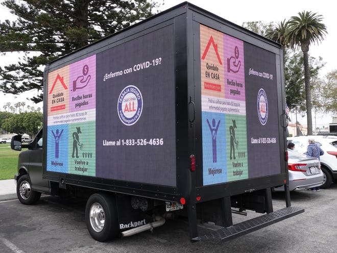 This truck, with digital messages and an audio broadcast, will spend four days roving agricultural areas in Oxnard as part of an effort by state labor advocates to inform farmworkers of rights concerning COVID-19 paid leave for 2021. The truck was on display Monday, May 10, 2021 at Oxnard's Plaza Park.