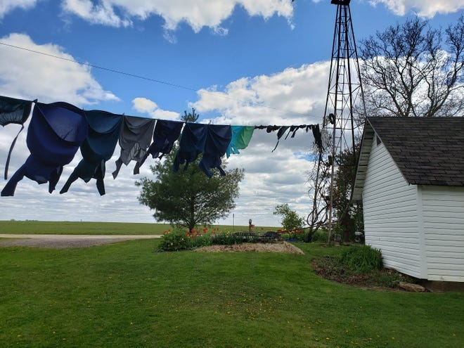 Clothes flap in the breeze on a clothesline outside the first Amish farm stop near Cashton, WI.