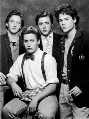 """Left to right: Andrew McCarthy, Emilio Estevez, Judd Nelson and Rob Lowe as they appeared in the 1985 film """"St. Elmo's Fire."""""""