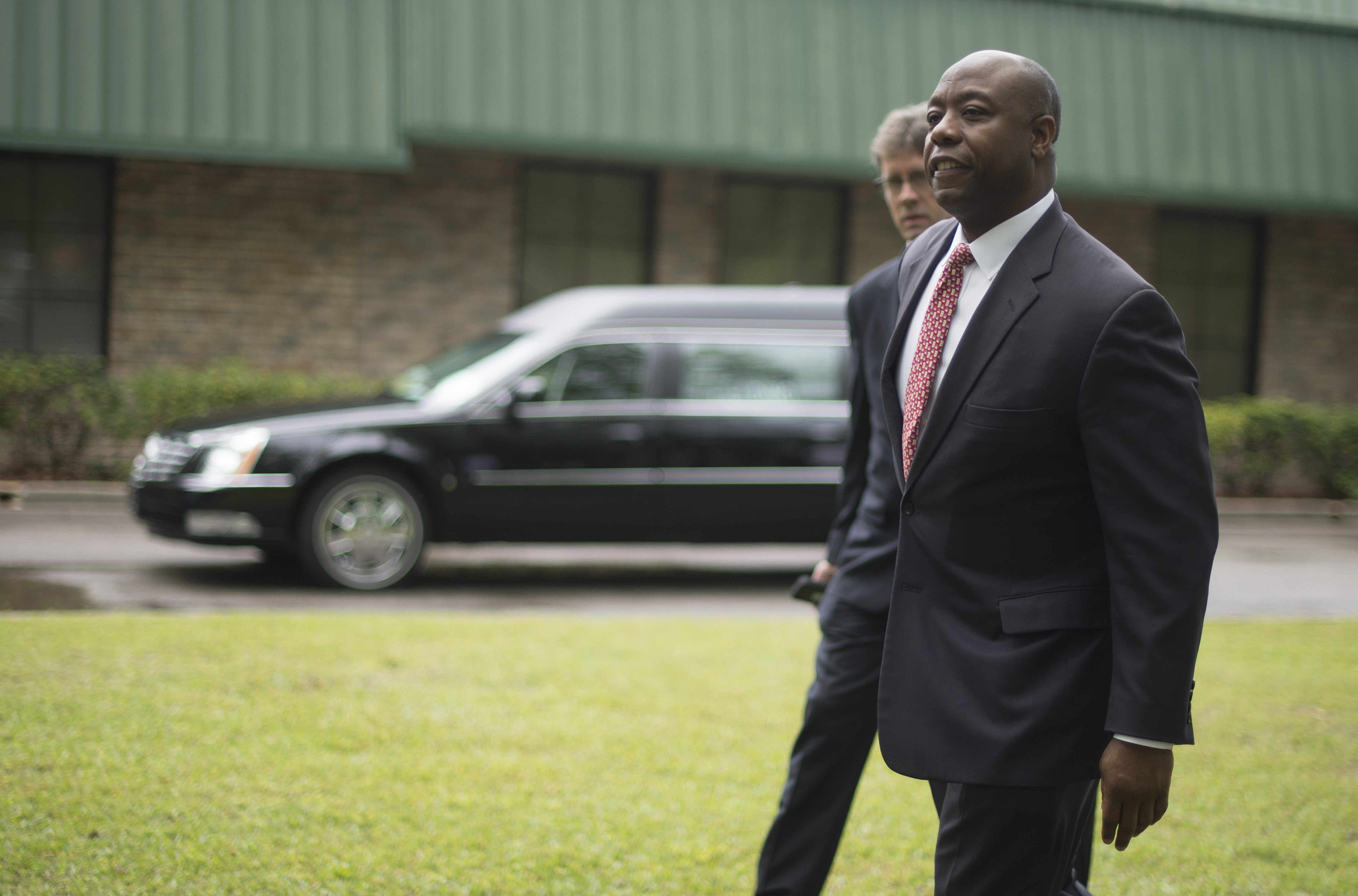 Sen. Tim Scott, R-S.C., was among hundreds of people who attended the funeral of Walter Scott at WORD Ministries Christian Center in Summerville , S.C., on April 11, 2015. Walter Scott, an unarmed Black man, was fatally shot by a white officer in South Carolina as he fled a routine traffic stop.