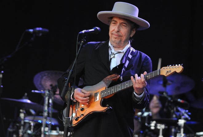 In this file photo taken on July 22, 2012, Bob Dylan performs during the 21st edition of the Vieilles Charrues music festival in Carhaix-Plouguer, western France.