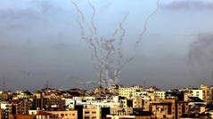 Rockets are fired from Gaza City, controlled by the Palestinian Islamist movement Hamas, toward Israel on May 10, 2021.