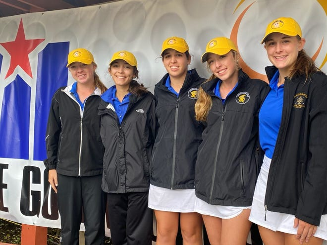 The Anderson girls golf team was making its first appearance at the state golf tournament in 23 years. From left, Darrelyn Webster, Sloane Panter, Farah O'Keefe, Karime Nichols and Caroline Dasch took fifth place in Class 5A on Tuesday at White Wing Golf Club in Georgetown.