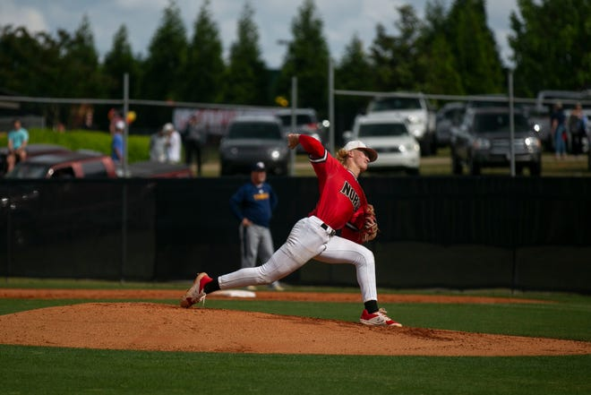 North Oconee's Bubba Chandler (16) pitches during a baseball game at North Oconee High School on May 10, 2021, in Bogart, Georgia.  (Rebecca Wright for the Athens Banner-Herald)