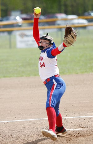 Mapleton High School's Roxie Hamilton (34) delivers a pitch against Orrville High School during their Division III sectional semifinal high school softball game Tuesday, May 11, 2021 at Mapleton High School. TOM E. PUSKAR/TIMES-GAZETTE.COM