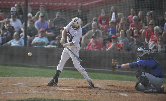 Harlem's Caleb Coulson at bat during the first game of Monday's doubleheader between Harlem and Ringgold in the GHSA baseball quarterfinals.
