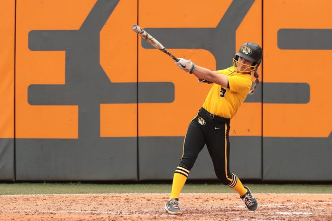 Missouri shortstop Jenna Laird (3) hits a home run during a game against Tennessee on Sunday in Knoxville, Tenn.