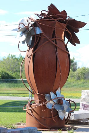 Urn-E, a large piece of artwork by Ann Gildner, was recently donated to the City of Cheboygan for its Art Vision project throughout the city.