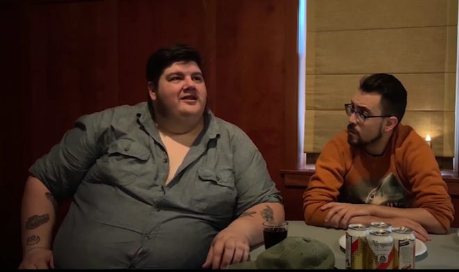 """Dustin Meadows (left) in a scene from his recreation of """"Jaws"""""""