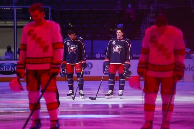 Seth Jones, rear left, and Zach Werenski are regarded as the core of the Blue Jackets, and both are due to become pending free agents. Their negotiations are among the most important offseason tasks ahead for general manager Jarmo Kekalainen.