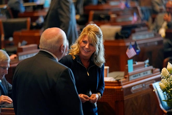 Sen. Heather Cloud, R-Turkey Creek, and Sen. Body White, R-Central, talk during opening day of the Louisiana legislative session April 12 in Baton Rouge. The Louisiana Senate votedMonday in favor of Cloud's bill to require regular audits of the state's elections.