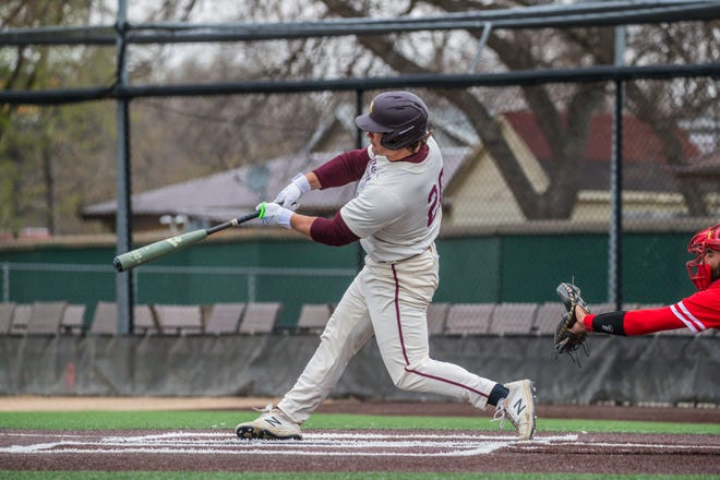 Brock Reller hit his NSIC-leading 14th home run during Minnesota Crookston's three-game series at Minot State this past weekend.