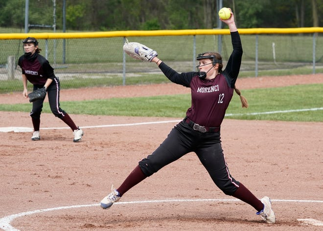 Morenci's Ellie Price delivers a pitch during a doubleheader against Addison on Monday.