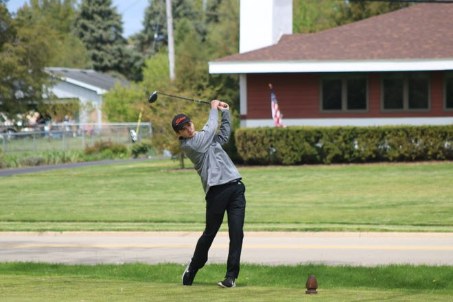 Tecumseh senior David Clarke tees off during the Lenawee County Tournament at Tecumseh Golf Club on the afternoon of Monday, May 11th.