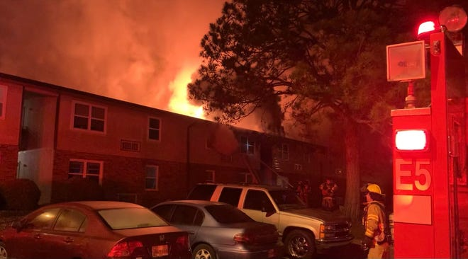 Firefighters with Columbia Fire & Rescue respond to a fire at Columbia Meadows Apartments at 148 Brannon Court in Maury County on Tuesday, May 11, 2021. Three people were transported to Maury Regional Medical Center and Vanderbilt Medical Center.