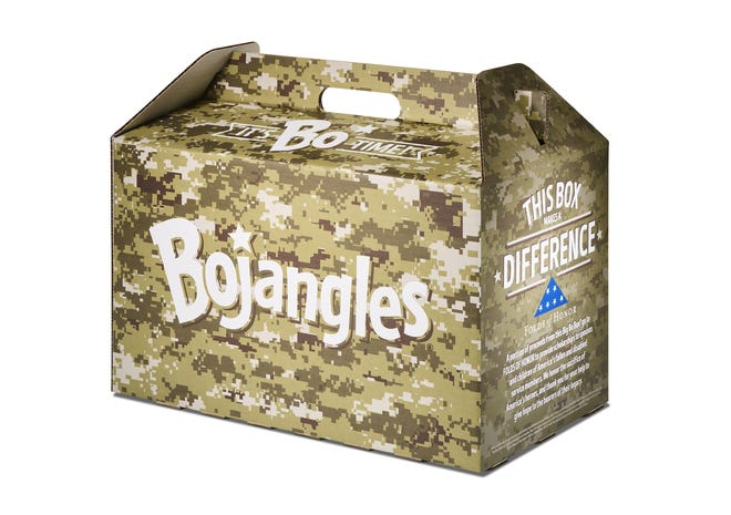 Bojangles is introducing an exclusive, camo-themed Big Bo Box in partnership with Folds of Honor, a not-for-profit organization that provides educational scholarships to families of fallen or wounded soldiers, which will be available through June 27 in honor of  National Military Appreciation Month.