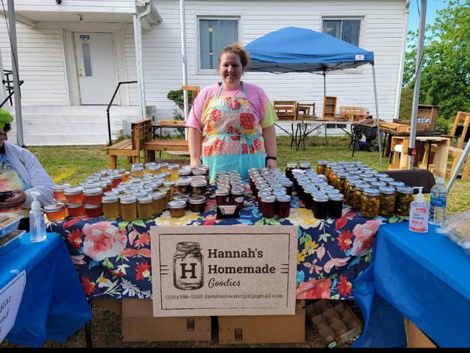 Hannah Bailey makes homemade canned goods, sugar cakes and breads that she sells at the Community Market in Arcadia monthly. Amanda Traigle created the new Community Market events in April to help local people who lost income and means to show their crafts and direct sales products when the pandemic began in 2020 and canceled all festivals, craft bazaars and other events.
