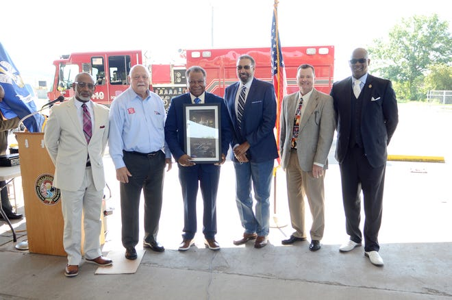 Donaldsonville officials honored first responders and essential workers during the May 6 Day of Prayer event at the Frank Sotile Jr. Pavilion. Shown from left are: Lauthaught Delaney, Raymond Aucoin, Leroy Sullivan, Reginald Francis, Michael Sullivan, and Charles Brown.