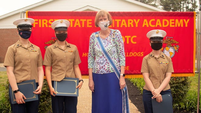 Pictured, recipients of the DAR Youth Citizenship Award who exemplify the qualities of honor, service, courage, leadership and patriotism are, from left, Cadet Gunnery Sergeant Marianna Eastburn; Cadet Sergeant Kathleen Ford; Claudia Onken, DAR, Col. John Haslet Chapter; and Cadet First Sergeant Alannah Sanger.