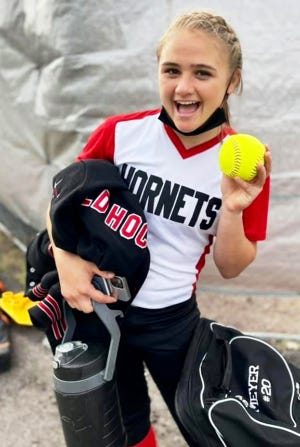 Honesdale senior slugger Sarah Meyer is all smiles after crushing the first homerun of her varsity career. Her towering three-run bomb Monday afternoon paced the Lady Hornets to an impressive 13-1 rout of perennial powerhouse Scranton Prep.