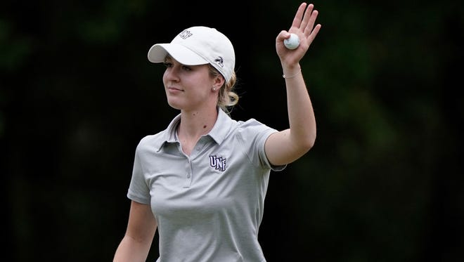 Christin Eisenbeiss of the University of North Florida is in first place in an NCAA women's golf regional after a second-round 67 on Tuesday.